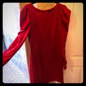 Red Suede Style Holiday Dress Medium